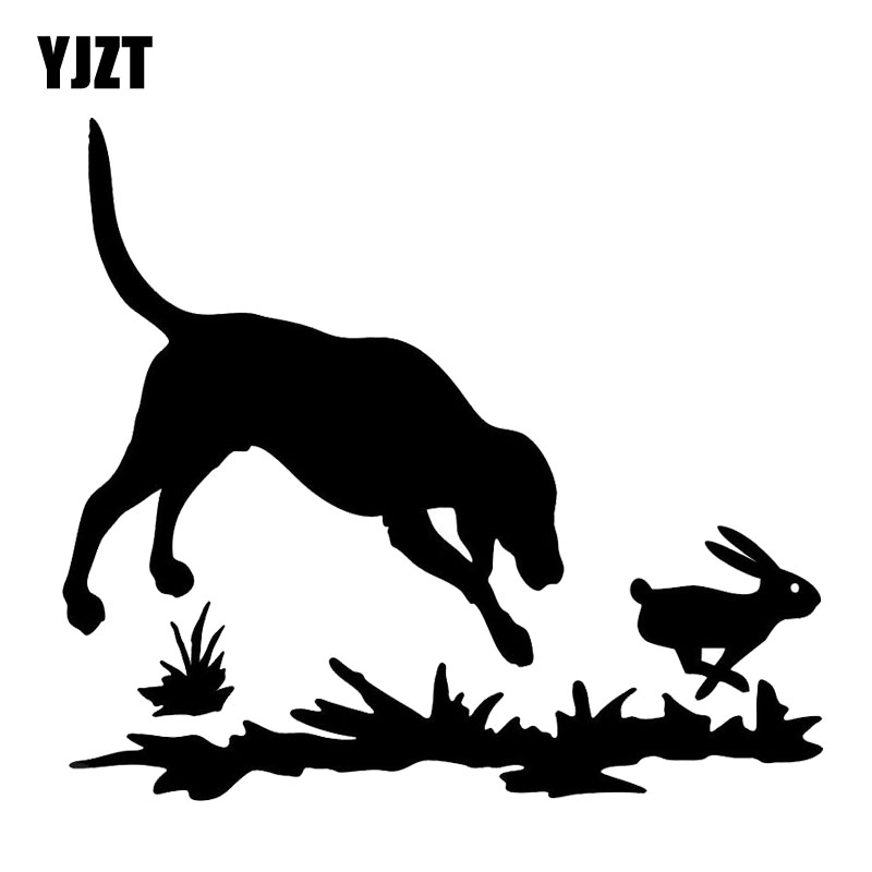 YJZT 15.2*13.6CM Rabbit And Dog Decal Hunting Window Vinyl Stickers Funny Cartoon Car Decals Black/Silver C6-1588