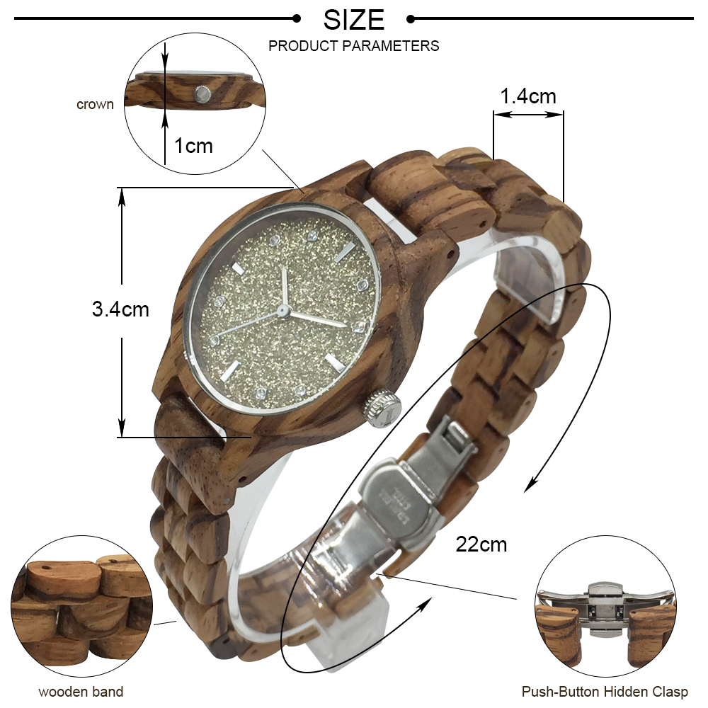 DWG Women Watches Fashion Glitter Dial Dress Women Ladies Quartz Wristwatch Retro Zebra wooden Strap Wood Watch With Box Clock dwg brand new wooden watch japan quartz movement rhinestone ladies fashion brown wrist watches women cherry wood clock with box