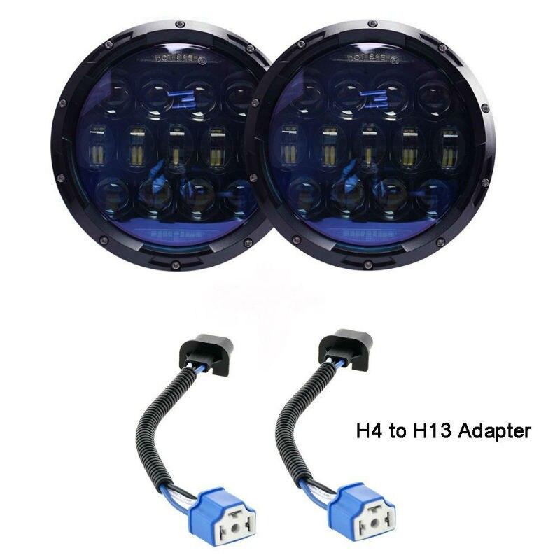 VEMIKYSION 1 Pair 130W Brightest Blue Projector Lens 7inch LED Headlights Amber Turn Signal/DRL for Jeep Wrangler JK LJ TJ CJ