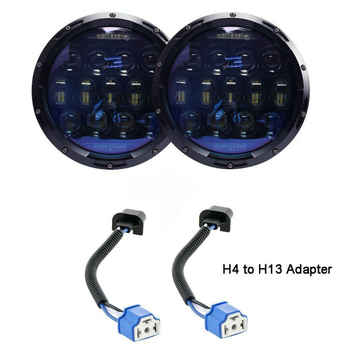 VEMIKYSION 1 Pair 130W Brightest Blue Projector Lens 7inch LED Headlights Amber Turn Signal/DRL for Jeep Wrangler JK LJ TJ CJ - DISCOUNT ITEM  13% OFF All Category