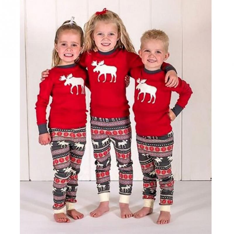 Cotton Kids Baby Boy Girl Christmas Reindeer Sleepwear New Year Nightwear Pajamas Clothes Set Deer Family Matching Outfits Xmas 2016 christmas suit 0 3y newborn toddler kids girls boys reindeer homewear nightwear sleepwear pajamas set 2pcs