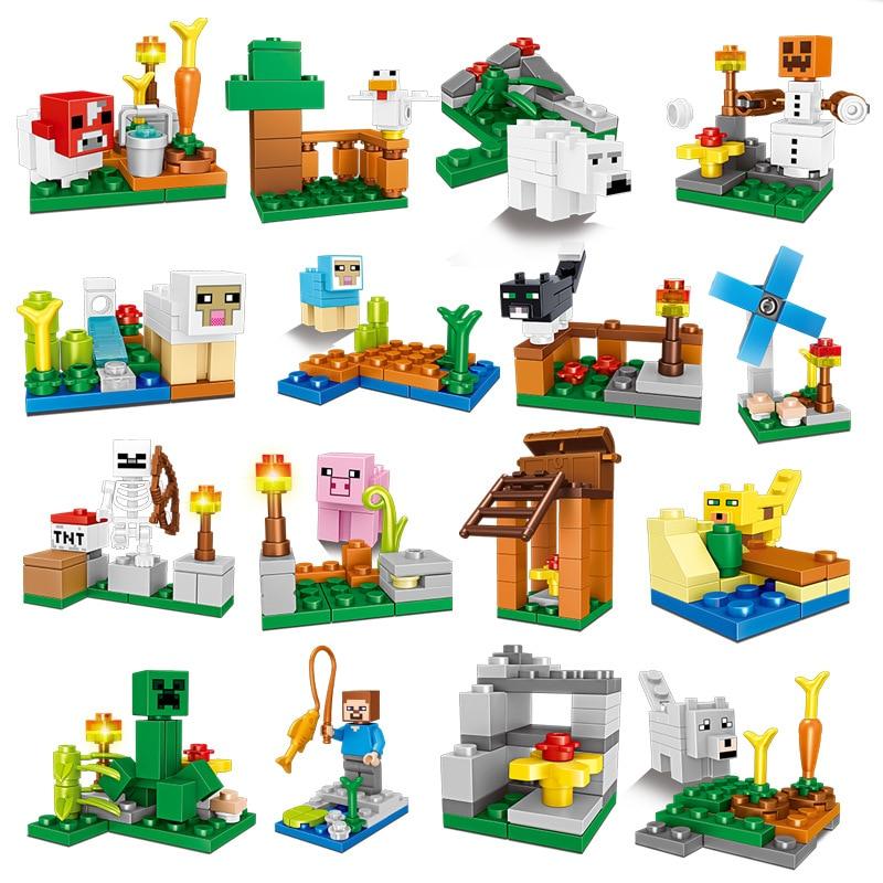 Minecrafted LegoINGlys Village Building Blocks Set Action Figures Alex Steve Compatible LegoINGlys Animal Zombie Bricks Kids Toy