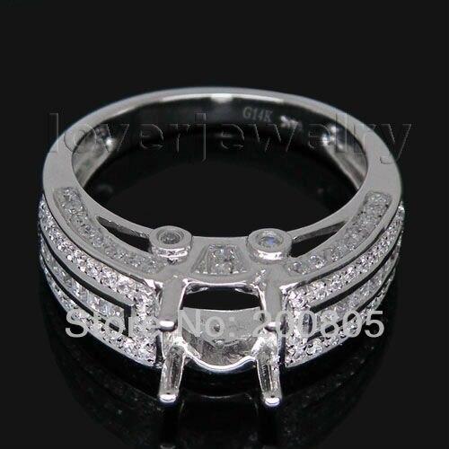 Vintage Round 6.5mm Solid 14kt White Gold Diamond Semi-Mount Ring SR00126Vintage Round 6.5mm Solid 14kt White Gold Diamond Semi-Mount Ring SR00126