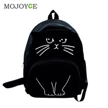 Cute 3D Cat Printing Backpack Women Canvas Backpack Large Capacity Backpacks For Teenager Girls Female Schoolbag Travel Rucksack