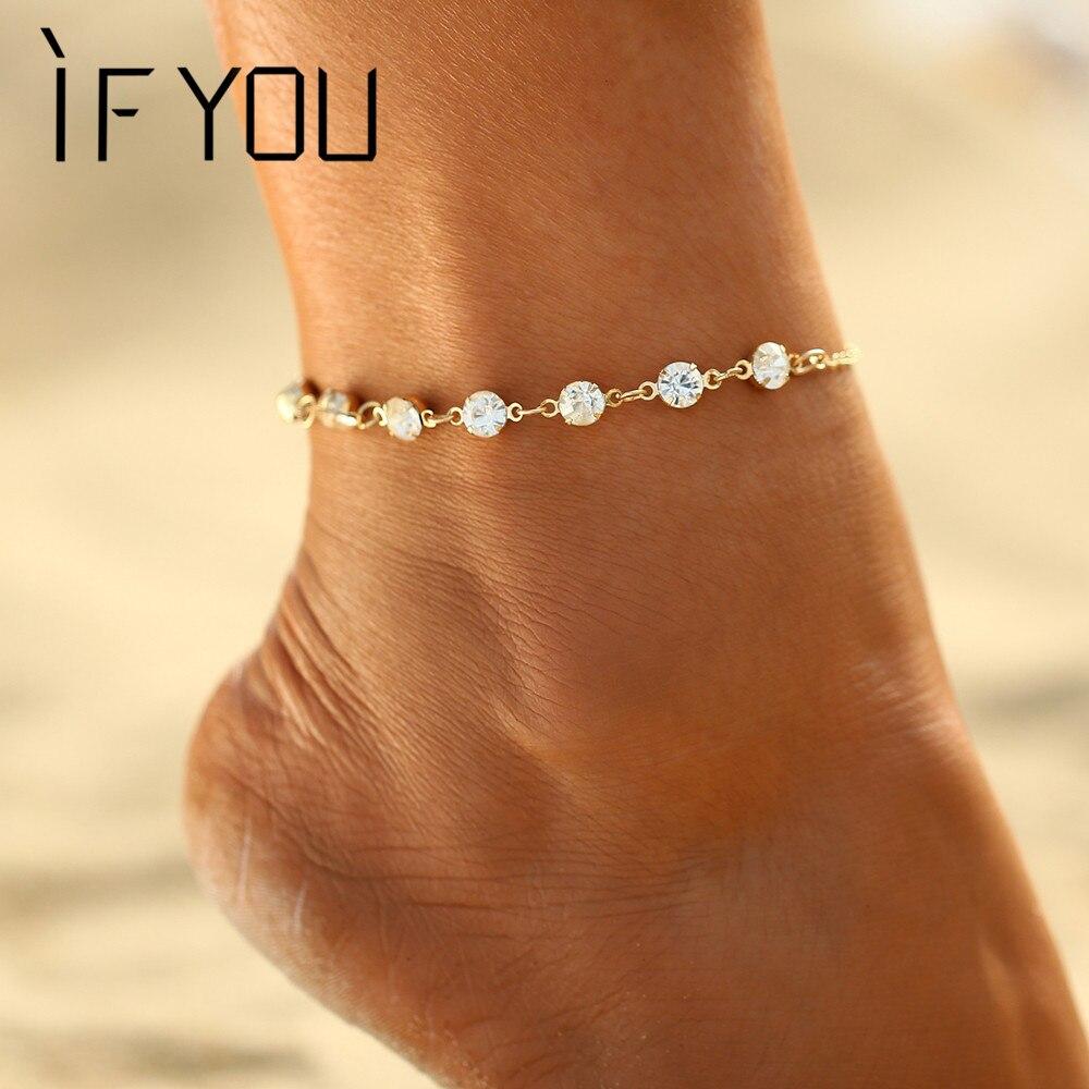 ALS JE Charming Crystal Voet Armband Bruid Enkelbandje Sieraden Voor Vrouwen Meisje Enkel Been Sieraden Ketting Bedelarmband Zomer Sieraden