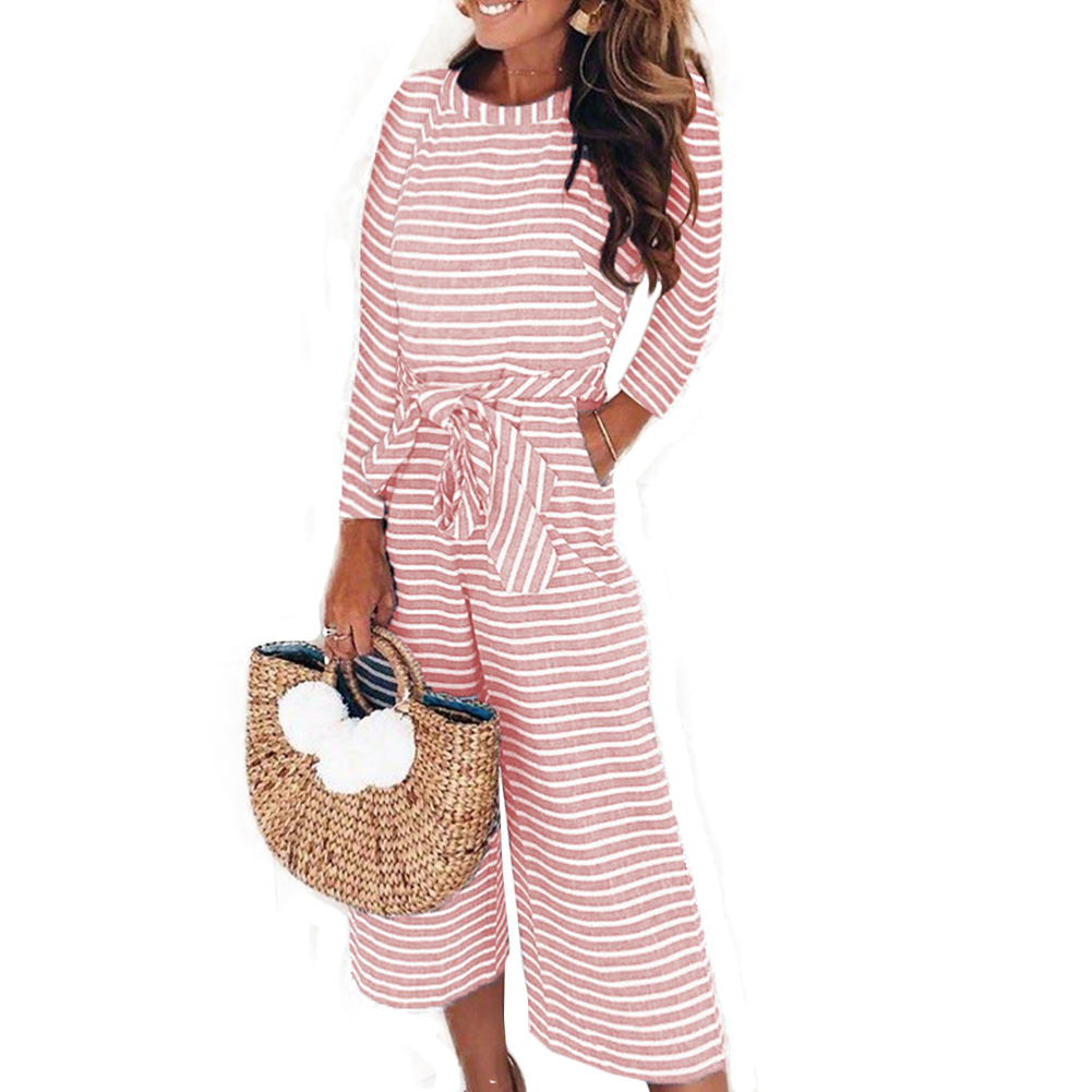 YJSFG HOUSE Fashion Women Jumpsuits Long Sleeve Striped Wide Leg Female Autumn Long Sleeve Jumpsuits Sashes Playsuits Culotte