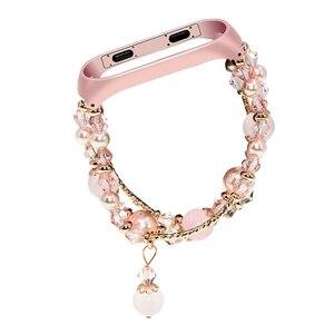 Image 5 - Bracelet Pulseira pour xiaomi mi bande 3 mi bande 4 Bracelet perles de cristal Agate chaîne sangle remplacement Smart poignet accessoires bandes