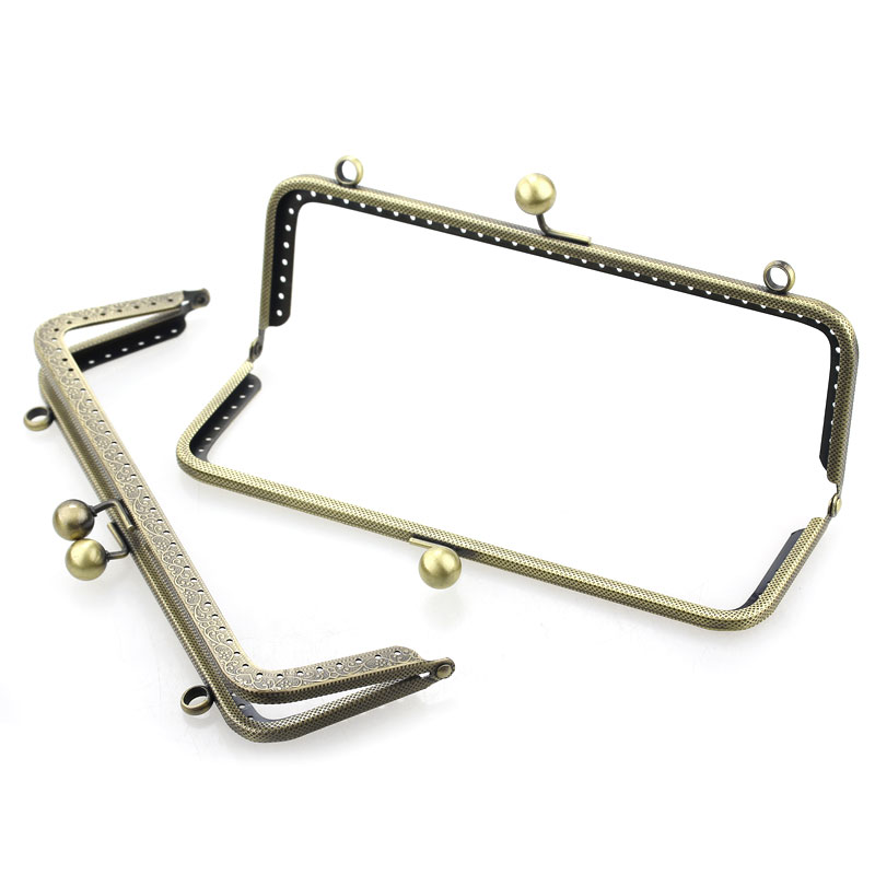 10Pcs Bronze Tone DIY Purse Bag Handbag Rectangle Frame Kiss Clasps Lock Handle 20x8cm in Jewelry Findings Components from Jewelry Accessories