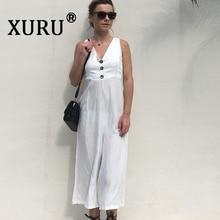 XURU summer new best selling jumpsuit button V-neck fashion backless wide-leg pants bohemian beach