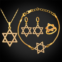 Star Of David Bridal Wedding Jewelry Sets Necklace Earrings Ring For Women 18k God Plated With