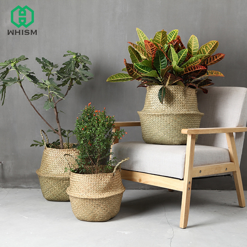 WCIC Handmade Rattan Storage Basket Foldable Seagrass Straw Hanging Woven Garden Plant Flower Pot Handle Toy Storage Container whism storage basket rattan straw basket wicker folding flower pot seagrasss flower baskets garden planter pot de fleur suspendu