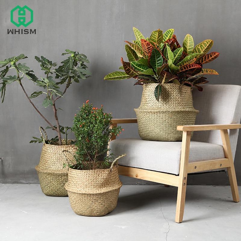 WCIC cesta de almacenamiento de ratán hecha a mano plegable paja de Seagrass colgante de jardín tejido maceta de flores recipiente de almacenamiento de juguete
