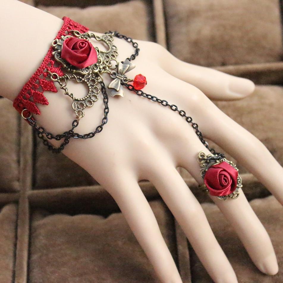Kittenup Weddings Vintage European style palace lace bracelets of red flower & rings of flower / wrist jewelry for women