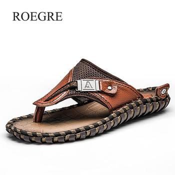 Brand Men's Luxury Flip Flops 2019 Genuine Leather Slippers Summer Beach Shoes For Men Fashion Outdoor Sandals Male Plus Size 48