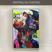 Free Shipping Artist Pure Hand-painted High Quality Abstract Man Side Face Oil Painting on Canvas Man Portrait Oil Painting недорого