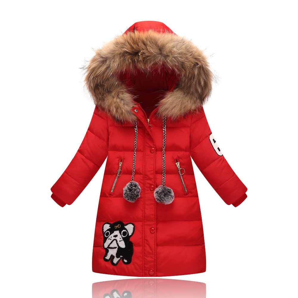 Fashion Winter Girl's Down Jackets Children Long Model duck down Coats Girl Zipper Hooded Fur Outerwear Warm baby down Jacket ywst2017 fashion girl s down jackets coats winter russia baby coats thick duck warm jacket children outerwears 30degree jackets