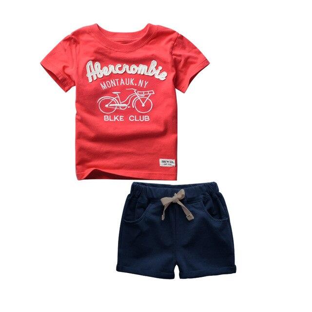 GODODOMAOYI 2019 sıcak satış marka erkek giyim çocuk yaz erkek giysileri karikatür çocuk Boy giyim seti t shirt + pantolon pamuk