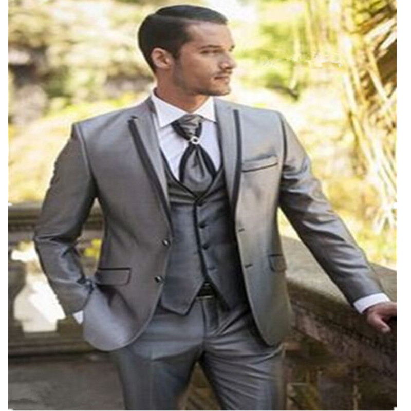 Gray Groom Tuxedos Groomsman Suit Italian Style three Piece Wedding Prom Party Suits For Men Bridegroom Suit