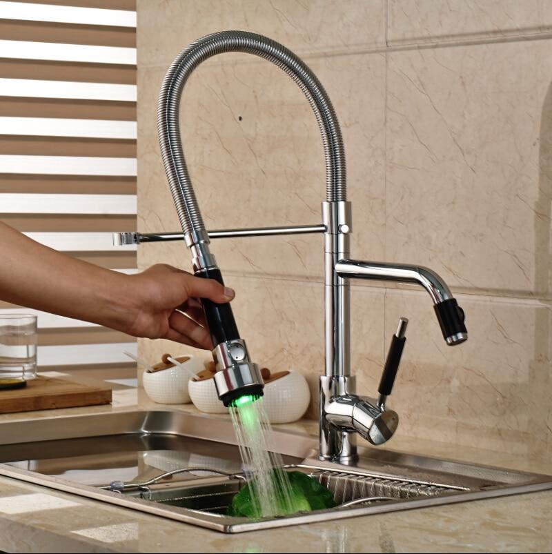 Luxury Color Changing LED Light Kitchen Sink Faucet Deck Mount Two Spout Kitchen Mixer Taps