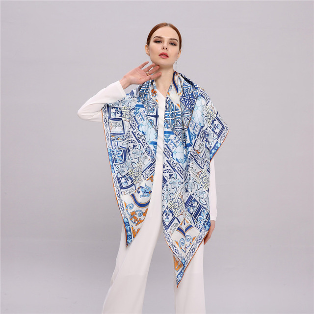 b8944c009 100% Silk Scarf Women, Infinity Square Shawl 135*135cm, Classic Chinese Blue