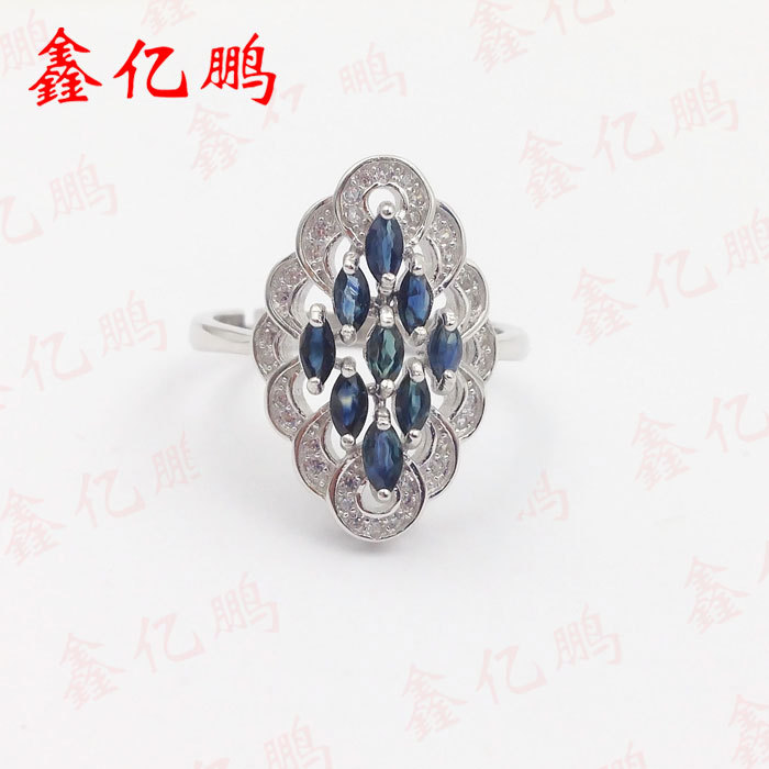 925 silver inlay natural sapphire ring female 1 pair square faux sapphire inlay hairpin