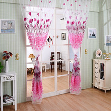 Romantic Tulip Print Voile Sheer Curtain Drape Divider Valance for Door Window(China)