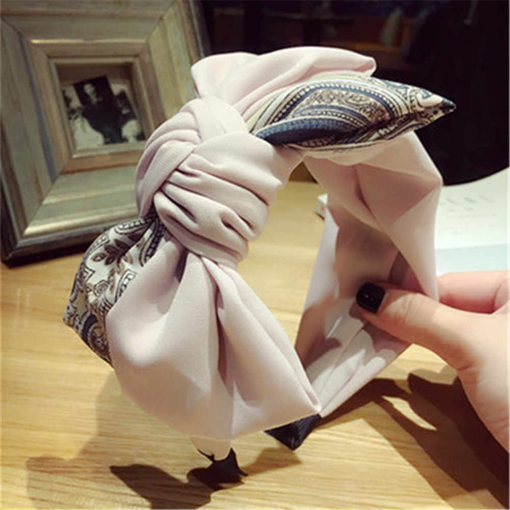 HOOH 2019 Vintage Fashion Headscarf Headband Twist Hairband Women Girls Bow Knot Headband twiste Hairband Headwear Chic Hoop