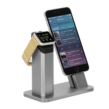 Fashion 2 in1 phone holder for iPhone 7 6 6S plus se Lightning Charging Dock for Apple watch 1 2 Aluminum Desktop Bracket Stand