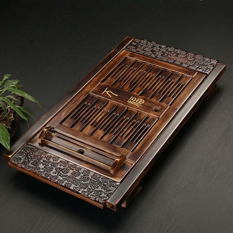Accessoires de thé en bois massif chinois plateau de thé boisson thé Kung Fu ensemble de thé Table tiroir Type Gongfu stockage bac de Drainage
