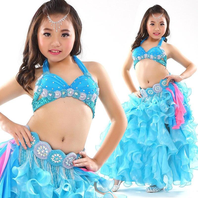 Nouveau Style costume de danse du ventre enfants cadeau vêtements porter enfants danse enfant danse du ventre danse indienne 2 pièces-3 pièces soutien-gorge et ceinture et jupe