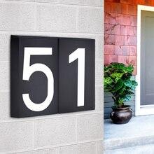 Led Huisnummer Solar Power Digital Hotal Deur Muur Solar Licht Adres Nummer Teken Lamp Custom Straat Nummer Plaque