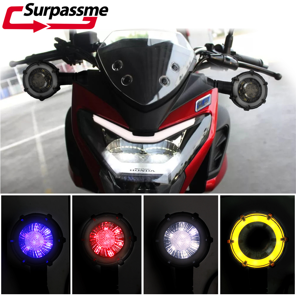 Pair Universal Motorcycle LED Turn Signal Light Waterproof Flasher Warning Lights Signal Lamp Racing Scooter ATV Accessories