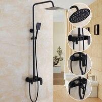 Ванная комната черный масла Краски сплошной латунной ванной набор для душа Настенные 8 Осадки смеситель для душа кран 3 функции смеситель к