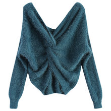 ZAN. estilo Sexy Twisted volver Chenille suéter invierno otoño 2 desgaste  lateral Fuzzy Jumper suéteres moda caliente mujeres Pu. 53daaf92aed9