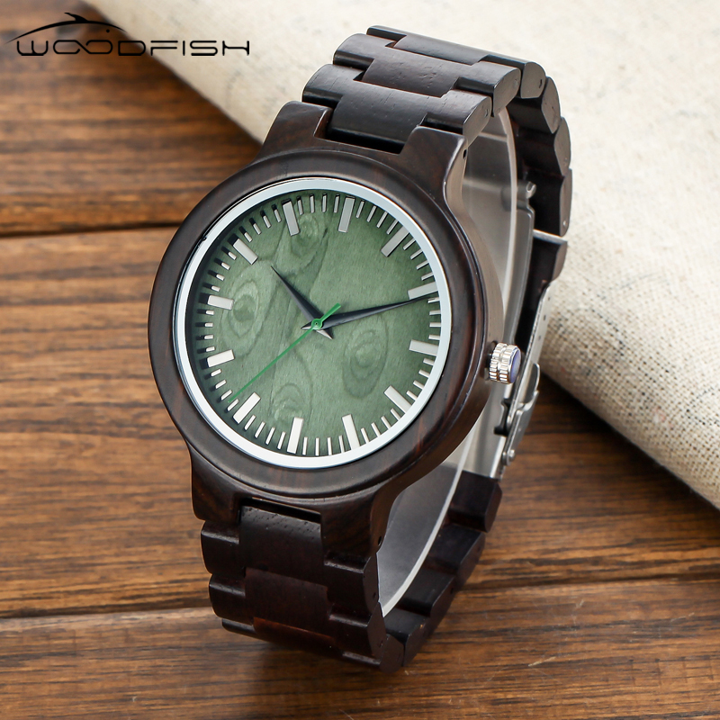 WOODFISH Mens Wooden Watch Green Wooden Dial Vintage Watch for Men Quartz Movement Watches Retro Black Brand Watch With Gift Box