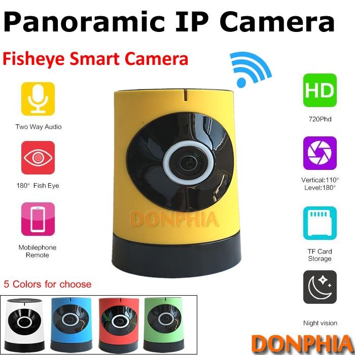 ФОТО Free shipping! Panoramic IP Camera 1.4mm fisheye lens HD Mini Indoor wireless Remote view P2P Onvif CCTV Camera easy to install