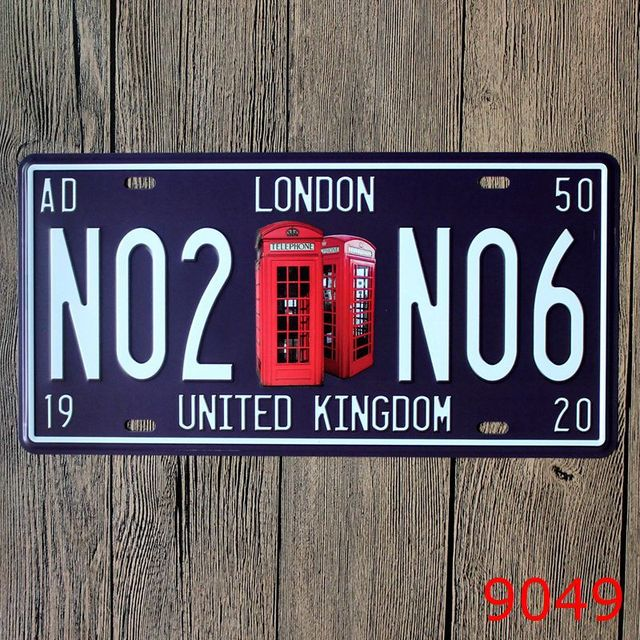30x15cm LONDON NO2 Vintage Home Decor Tin Sign for Arto Store Wall ...