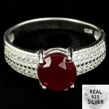 3.1g Real 925 Solid Sterling Silver Rd Ruby Round CZ SheType Rings US 8.5#  8x8mm