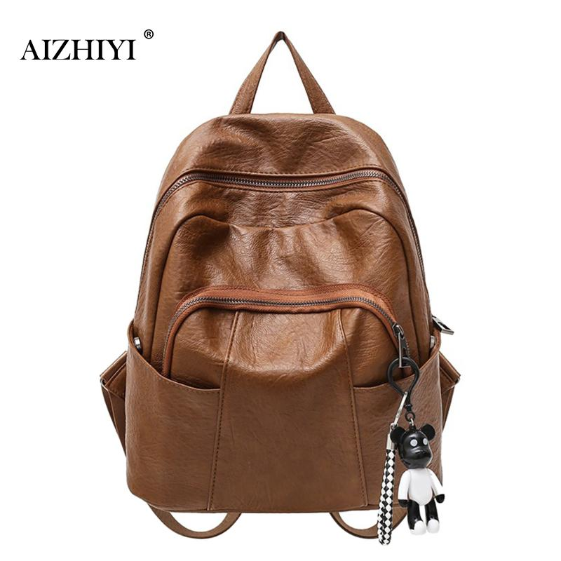 Mochila 2017 Fashion Pump Belt Buckles Womens Backpack Pure Color Pu Leather Backpacks Teenage Girls School Bag Rucksack Brown Excellent Quality Backpacks