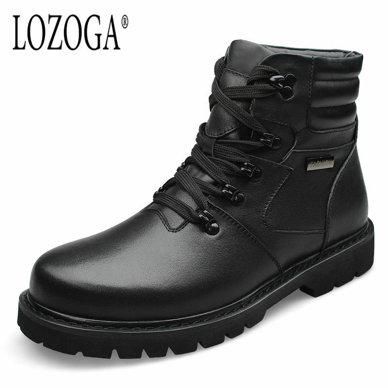 Men Boot Big Size For Winter Snow Boots 2017 New Mens Casual Shoes Genuine Leather Boots Lace-Up Boots Handmade Luxury Quality hot sale mens italian style flat shoes genuine leather handmade men casual flats top quality oxford shoes men leather shoes