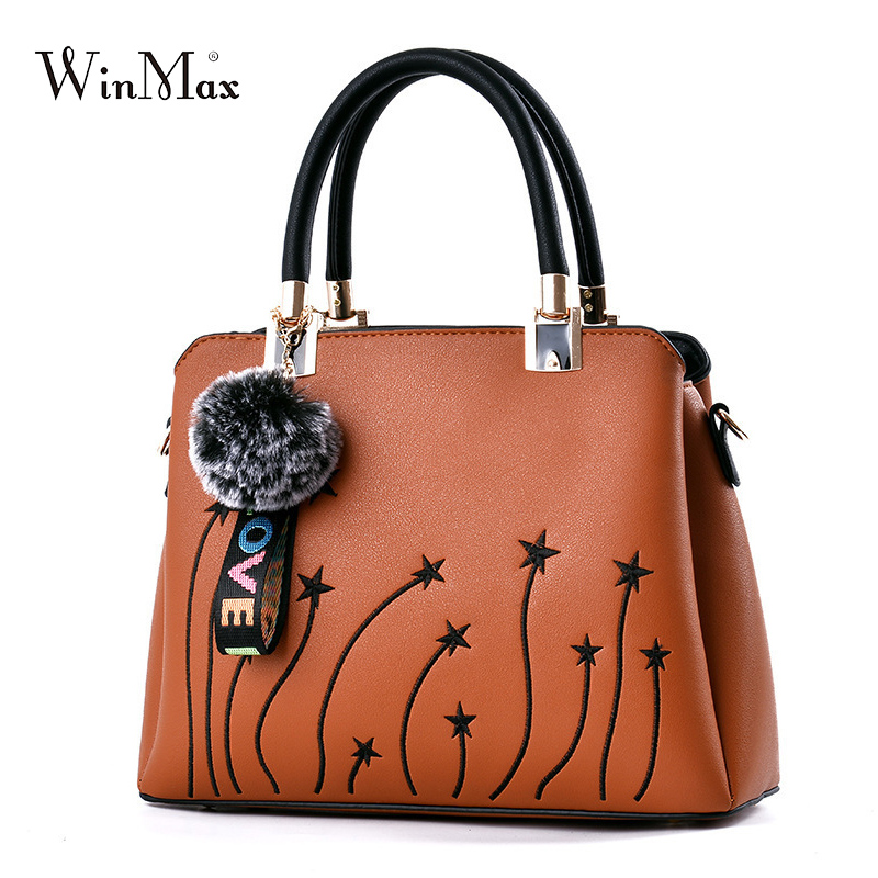 Quality Women Leather Handbag Female embroidery Shoulder Bag wholesale price Women Leather Handbag sac a main Ladies Hand Bags