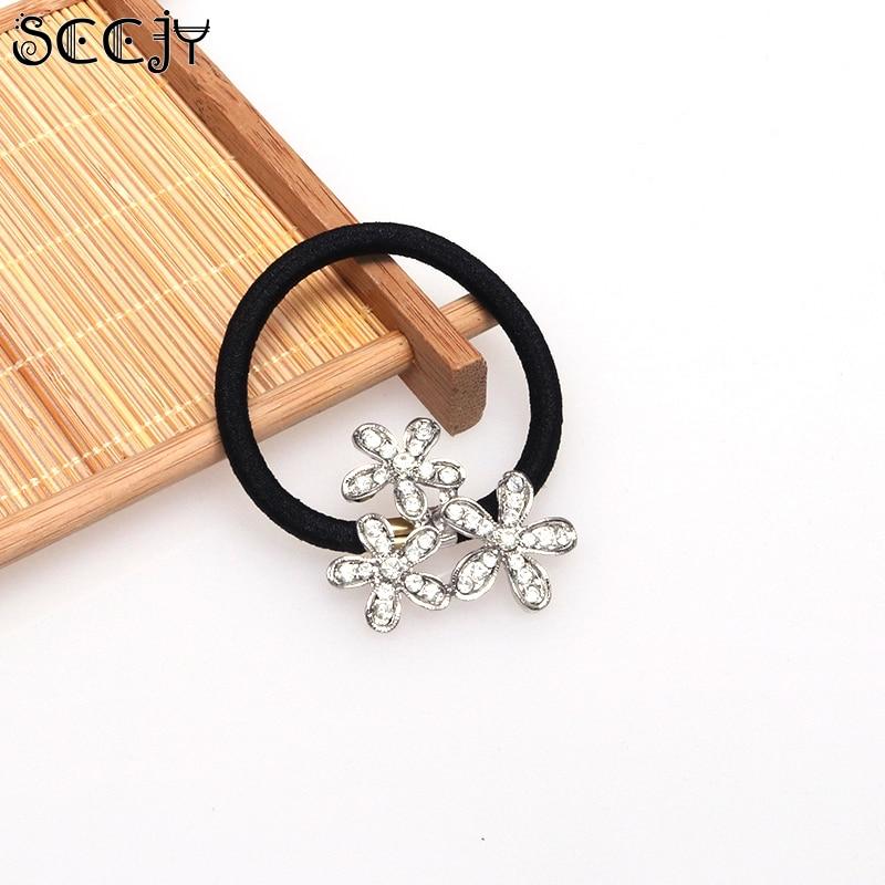 SCCJY Fashion Korean Silver Snowflake Flower Elastic Hair Bands Hair Jewellery A3R15C