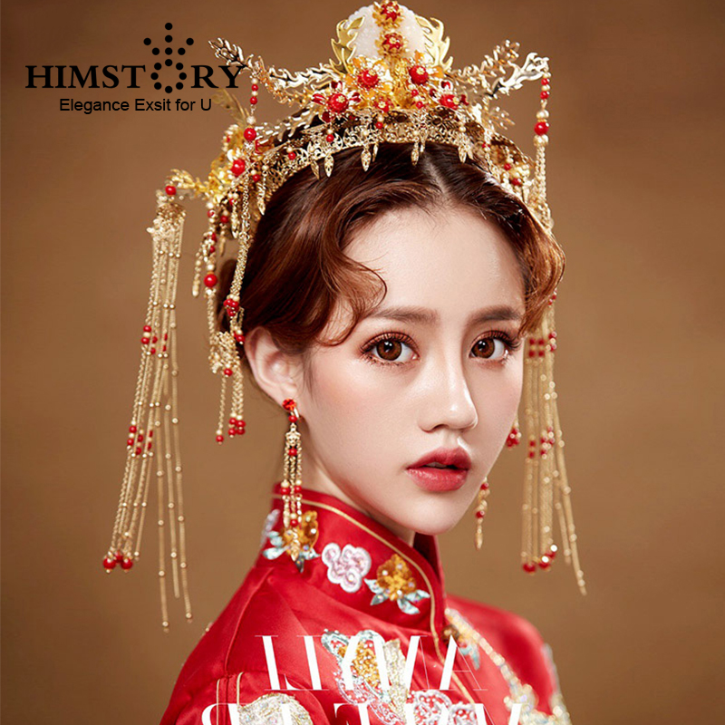 HIMSTORY Luxurious Chinese Bride Headdress Costume Gold Long Tassel Red Pearl Wedding Hairwear Photography Hair Accessories