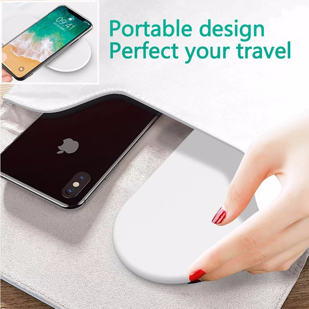 New Portable 2 in 1 Qi Standard Wireless Charger for iPhone X 8 Plus Apple Watch 3 Cordless Powerful Wireless Charging Pad Plate 11