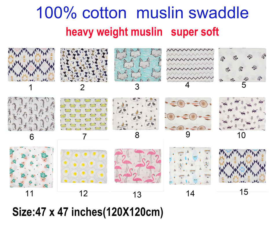 Miababy 100% cotton muslin baby swaddle, super soft , swaddle your newborn.