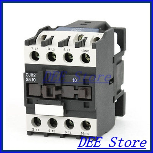 35mm DIN Rail Mounted 3P+1NO 110V Coil 25A AC Contactor CJX2-2510