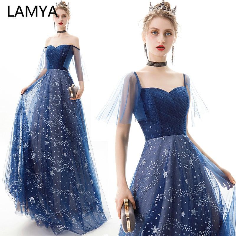 LAMYA Elegant Long Evening Dress Sweetheart Blue Pleat Tulle Starry Pattern Party Prom Gown Vintage Cap Sleeve Vestido De Festa
