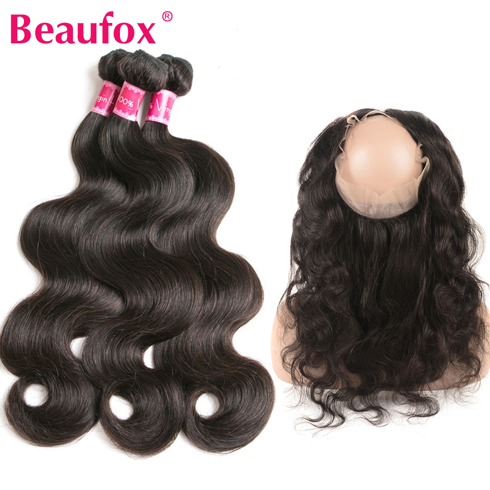 Beaufox 360 Lace Frontal With Bundle Brazilian Body Wave Human Hair With 360 Frontal Closure Remy Lace Frontal With Baby Hair
