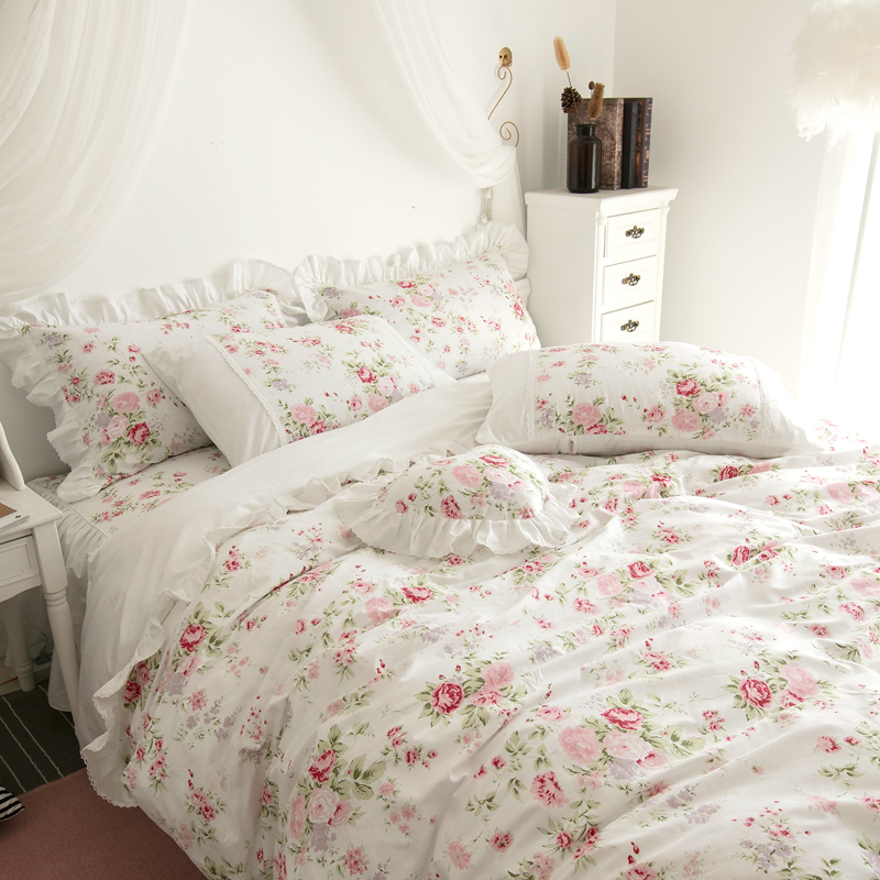 Korean Princess style Twin Queen King Bedding set 100 Cotton Girls Bed set Floral print Pink