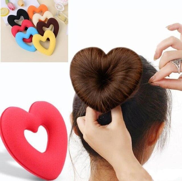 1 PC Cute Heart Shape Tiaras Hair Styling Tool Women Girls Sponge Bract Head Meatball Hair Bun Maker Ring Donut Free Shipping